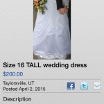 "Wedding dress ad: ""Only Worn Once"""