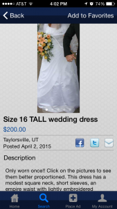"""Wedding dress ad: """"Only Worn Once"""""""